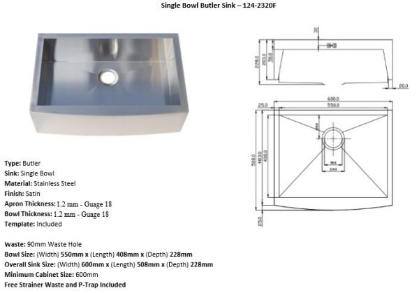 Stainless Steel Sink Model 124-2320F Detail