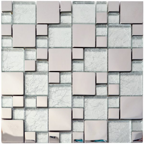 Aqua Steel Stainless Steel Backsplash Kitchen Mosaic - MnM Stone